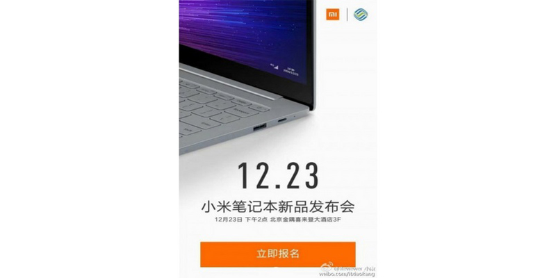 Xiaomi Mi Notebook Pro With 4G Support To Be Launched On December 23.