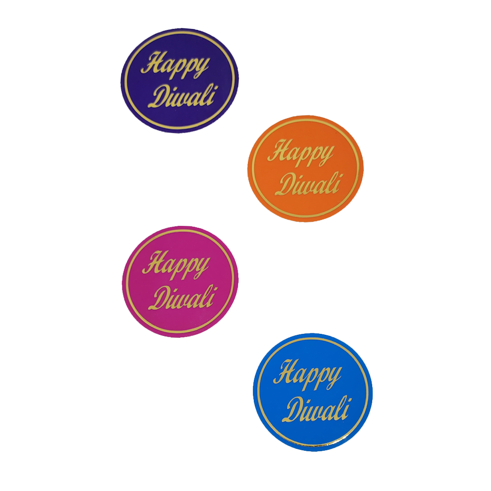 Comet Busters Multicolored Happy Diwali Gift Stickers for Envelopes, Gift Bags, Diwali Decorations (STK007)