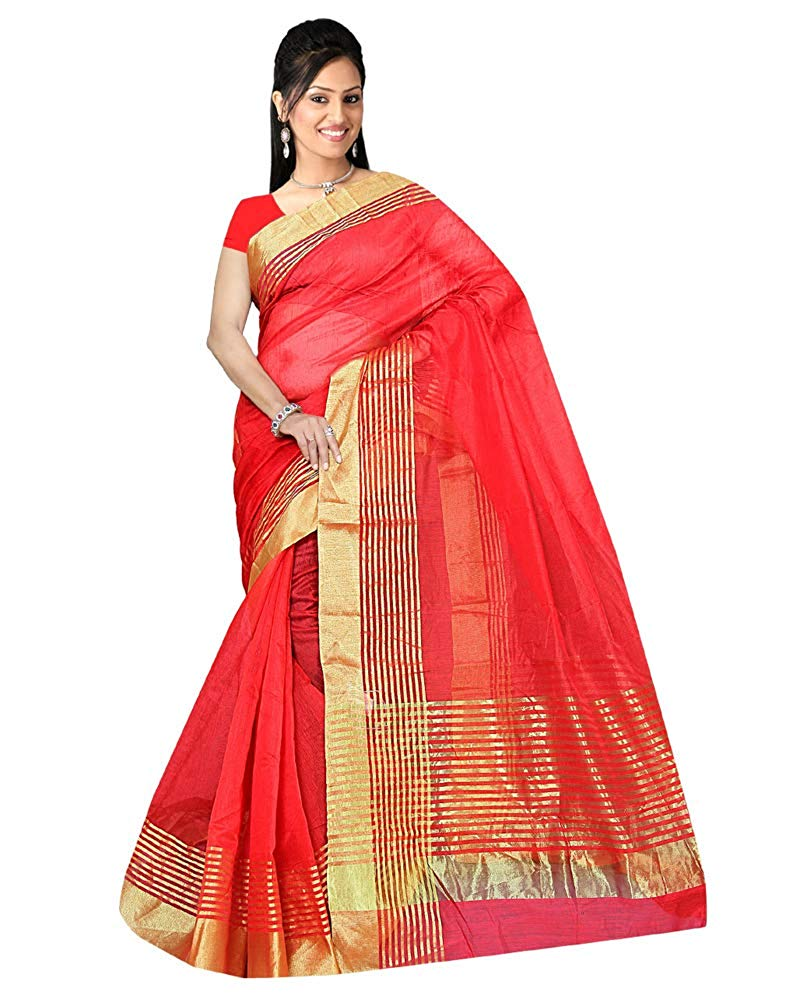 3d5d83c0e0 Comet Busters Red Festive Wear Super Net Solid Saree With Unstitched Blouse