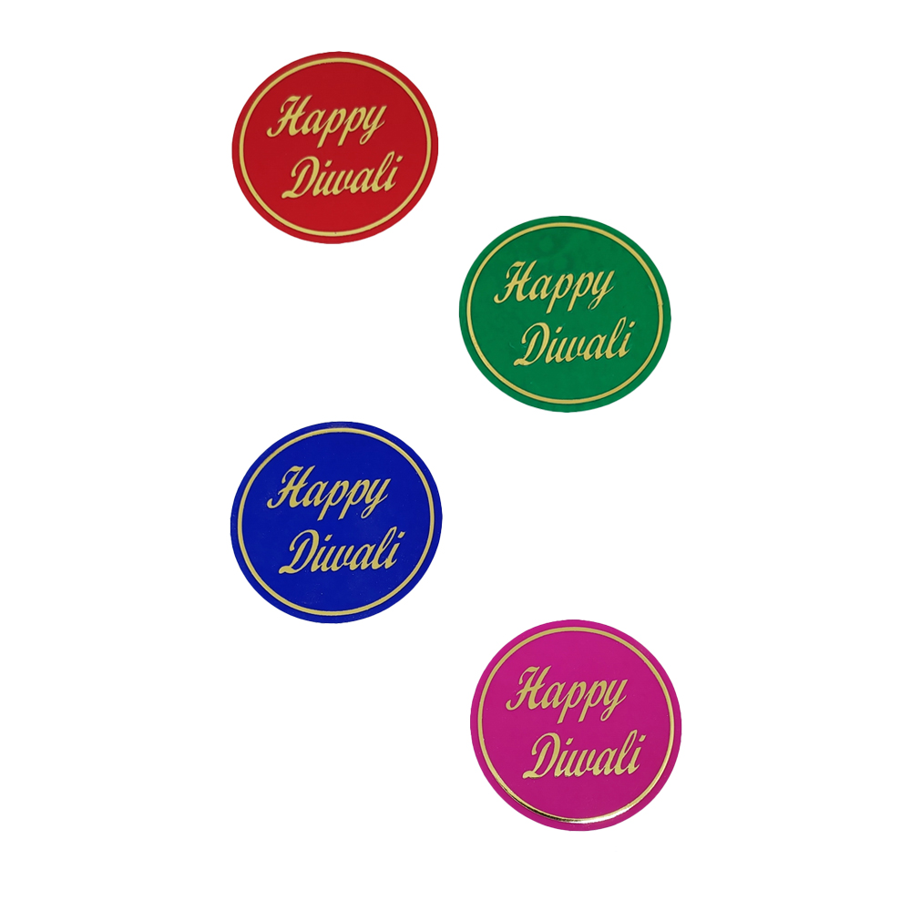 Comet Busters Multicolored Happy Diwali Gift Stickers for Envelopes, Gift Bags, Diwali Decorations (STK008)