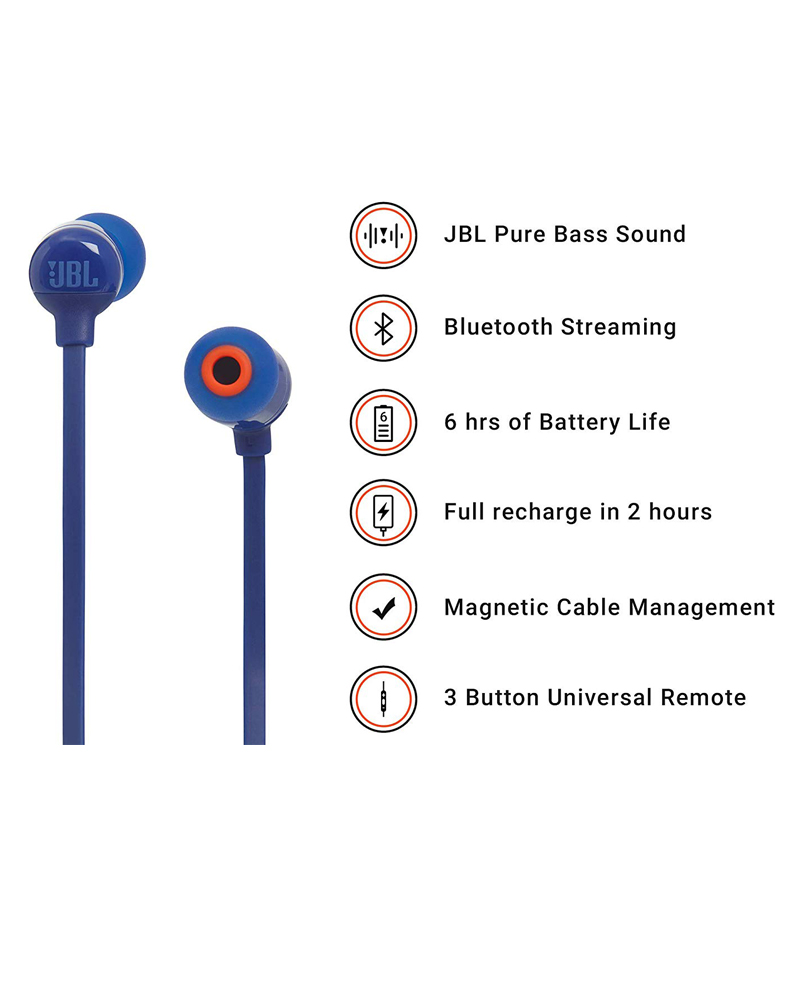 JBL T110BT Pure Bass Wireless in-Ear Headphones with Mic | Blue