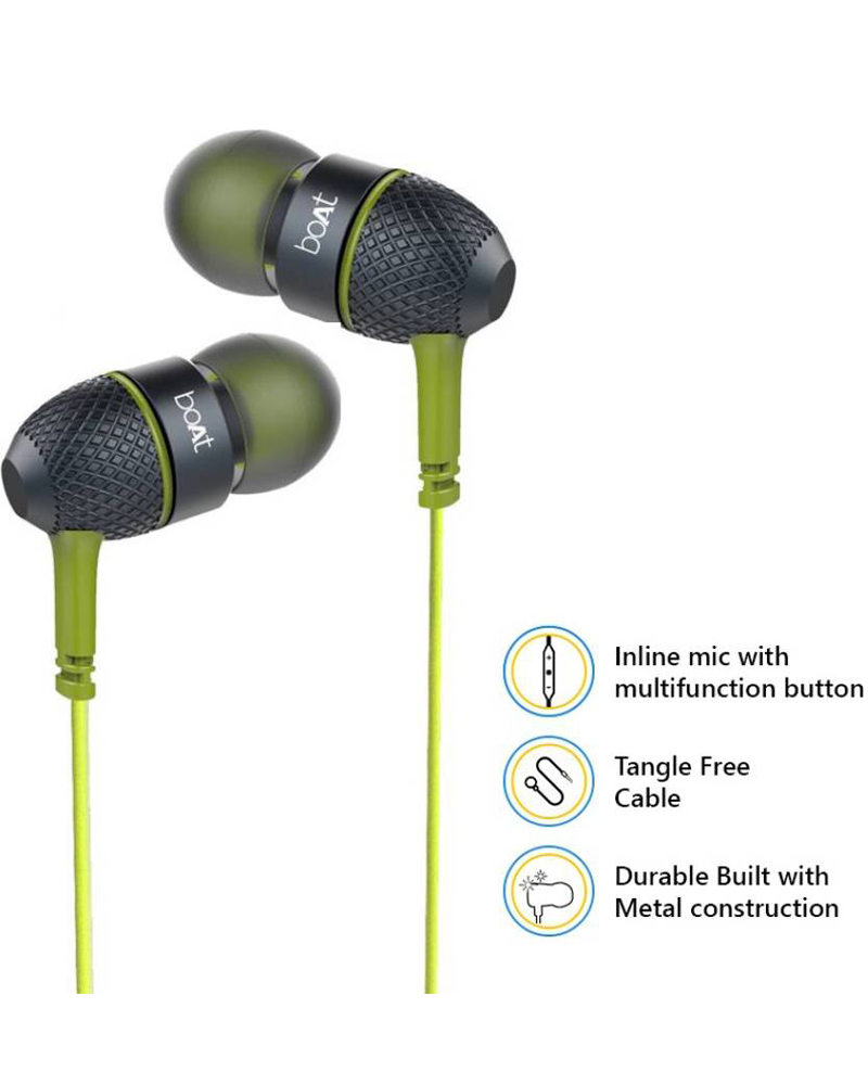 68e461a5eda Boat Bass Heads 228 | In-Ear Headphones with Mic | Neon Lime
