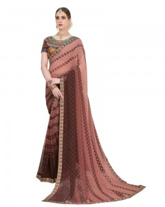 Comet Busters Printed Georgette Brown Saree with Border