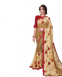 Comet Busters Printed Beige Georgette Sari With Border