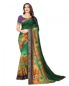 Comet Busters Art Silk Green Printed Saree With Border