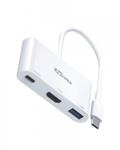 Portronics C-Konnect a 3-in-1 USB Type C Adapter (White)