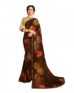 Comet Busters Brown Printed Saree With Blouse