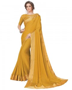 Comet Busters Mustard Georgette Saree with Resham Border