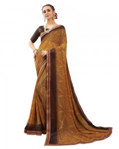 Comet Busters Georgette Blend Printed Brown Saree with Border
