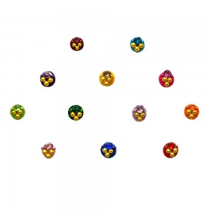 Comet Busters Fancy Round Bindis With Colorful Stone and Beads (4mm) (BIN1117)
