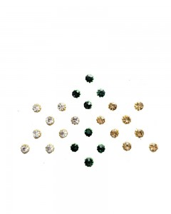Comet Busters Green and Golden Glitter Dot Bindi