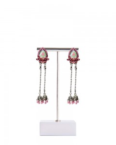 Comet Busters Stylish Silver Polish Pink Danglers for Women and Girls