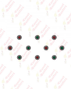 Comet Busters Fancy Green and Maroon Bindi With Black Design