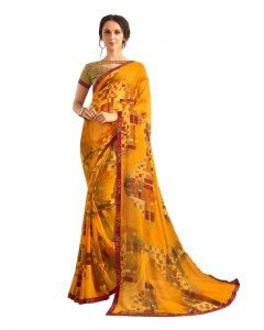Comet Busters Yellow Printed Saree With Blouse