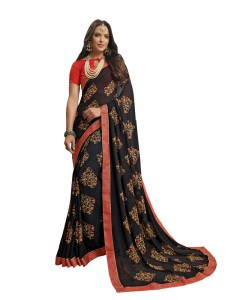 Comet Busters Printed Black Georgette Sari With Zari Border