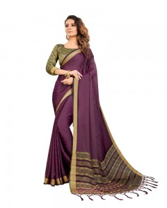 Comet Busters Self Design Wine Color Georgette Saree