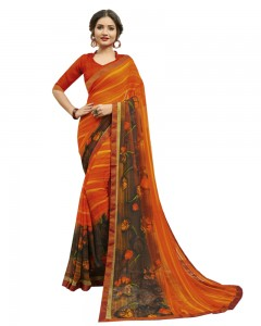 Comet Busters Women's Orange Printed Georgette Saree With Border