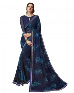 Comet Busters Blue Printed Georgette Sari With Border