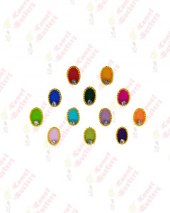 Comet Busters Multicolor Oval Bindi With Golden Border
