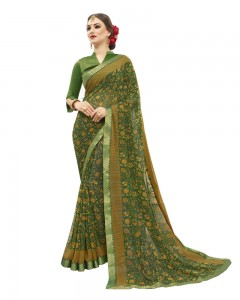 Comet Busters Printed Green Georgette Sari With Zari Border
