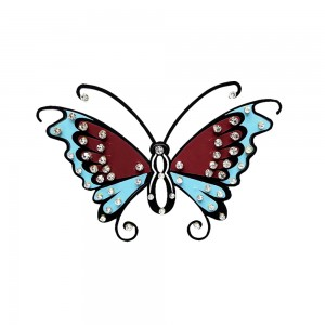 Comet Busters Temporary Blue and Maron Butterfly Tattoo With Silver Stones (BJ180)