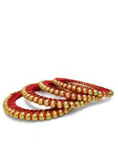 Comet Busters Traditional Red Threaded Bangles for Women