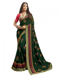 Comet Busters Printed Dark Green Georgette Sari With Zari Border