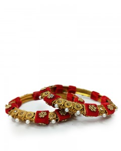 Comet Busters Traditional Red Golden Bangles for Women