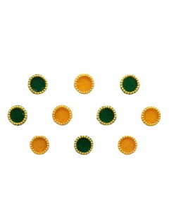 Comet Busters Dark Green Yellow Round Bindi