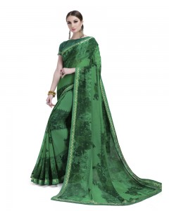 Comet Busters Beautiful Printed Green Georgette Casual Saree