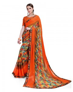 Comet Busters Geometric Print Orange Georgette Saree