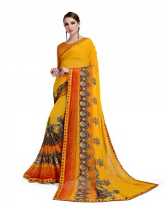 Comet Busters Printed Yellow Georgette Saree