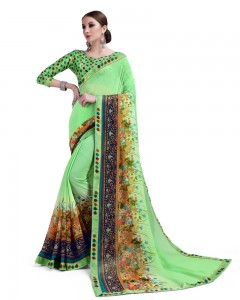 Comet Busters Peach Green Floral Print Georgette Saree