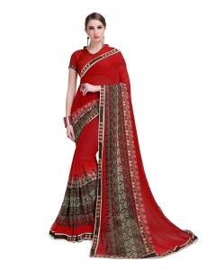 Comet Busters Beautiful Printed Red Georgette Saree