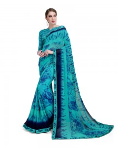 Comet Busters Beautiful Printed Blue Georgette Saree
