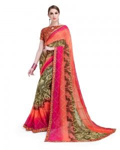 Comet Busters Beautiful Printed Orange Pink Georgette Saree