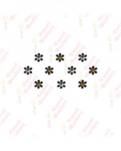 Comet Busters Black Floral Bindis With Gold and Silver Stone