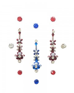 Comet Busters Designer Long Stone Blue Red Bindi