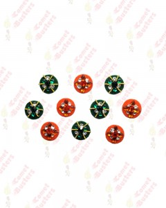 Comet Busters Orange and Green Round Bindi With Stone Crystals