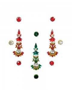 Comet Busters Designer Long Stone Green Red Bindi