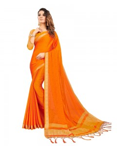 Comet Busters Self Design Orange Georgette Saree
