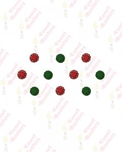 Comet Busters Red and Green Round Bindis With Stone Border (7 mm)