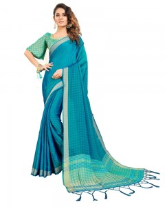 Comet Busters Self Design Turquoise Blue Georgette Saree