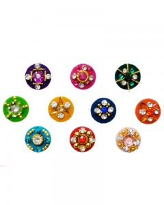 Comet Busters Round Multicolor Party Wear Diamond Studded Bindi