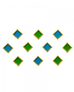 Comet Busters Blue Green Square Bindi