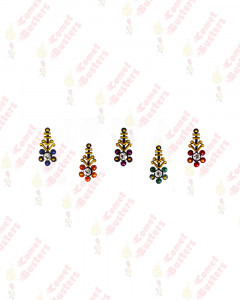 Comet Busters Multicolor Bindis With Silver Stone and Gold Beads