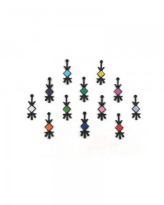Comet Busters Designer Black Bindi with Multicolor Squares