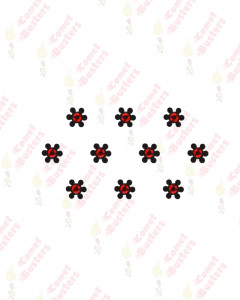 Comet Busters Black Floral Bindis With Red Stone