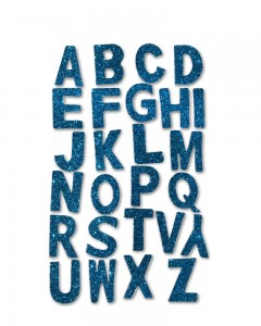 Comet Busters Self Adhesive Blue Glitter 3D Alphabet Stickers