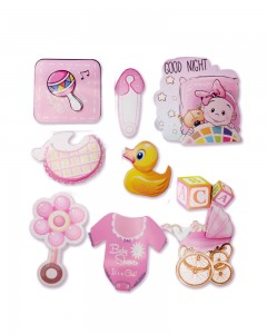 Comet Busters Cute Baby Shower 3D Stickers (It's a Girl)
